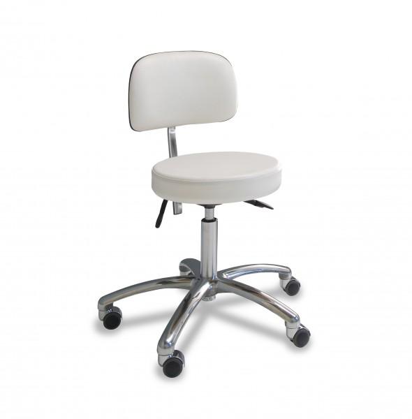 Siège de praticien avec assise ronde, Blanc