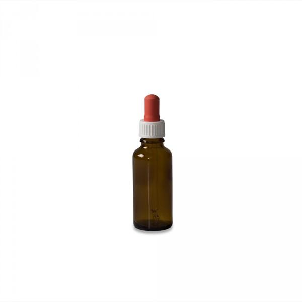 Flacon avec pipette, verre brun, 30 ml