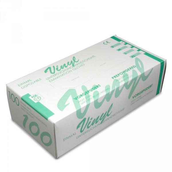 gants vinyl, légèrement poudrés, taille M, 100 pièces